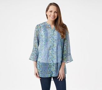 Isaac Mizrahi Live! Floral Print Button-Front Chiffon Tunic