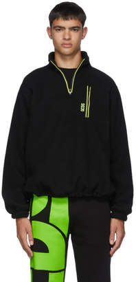 GCDS Black Pile Half-Zip Sweater