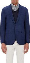 Boglioli Men's Micro-Geometric-Pattern Two-Button Sportcoat-BLUE