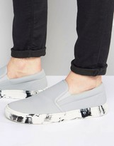 Asos Slip On Sneakers in White With Marble Effect Sole