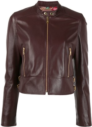 Dolce & Gabbana Cropped Leather Biker Jacket