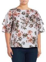 Lord & Taylor Plus Tiered Floral Linen Top