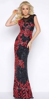 Mac Duggal Two Tone Fully Sequined Column Prom Dress