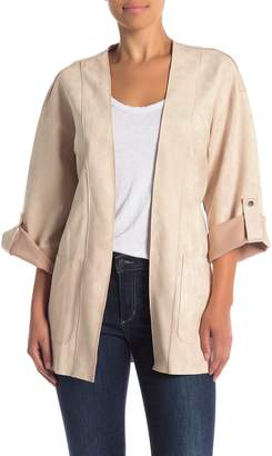 A.Calin Faux Suede Roll Sleeve Jacket