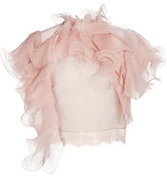 Alberta Ferretti Ruffle Chiffon Lace-Trim Blouse