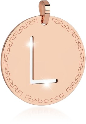 Rebecca Rose Gold-plated Bronze L Charm W/Rhodium-plated Necklace
