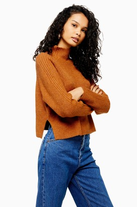 Topshop Knitted Cropped Funnel Neck Jumper