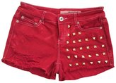 Excess Baggage Women's High Waisted Red Studded Stud Levi Frayed Cut Off Shorts-L