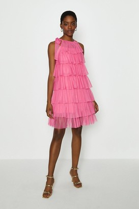 Coast Tiered Tulle Tie Neck Short Dress