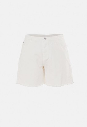 Missguided Size Cream Frayed Hem Long Denim Shorts