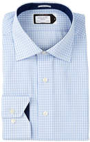 Lorenzo Uomo Long Sleeve Trim Fit No Wrinkle Mini Check Dress Shirt