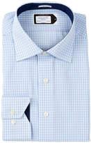 Lorenzo Uomo Trim Fit No Wrinkle Mini Check Dress Shirt