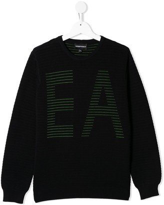 Emporio Armani Kids TEEN embroidered crew neck jumper