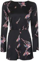 Topshop Satin bird print playsuit