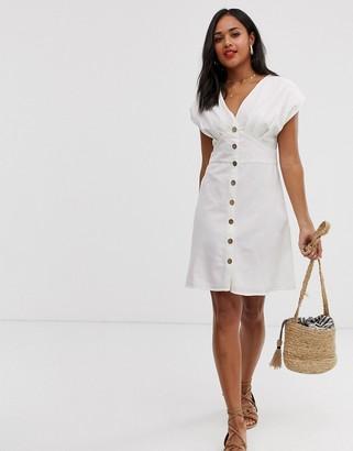 Pimkie button front mini dress in ecru-White