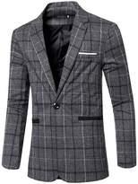 jeansian Men's Fashion Plaid Lapel Blazer Suit Jacket Outerwear Tops 9526 M