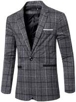 jeansian Men's Fashion Plaid Lapel Blazer Suit Jacket Outerwear Tops 9526 XL