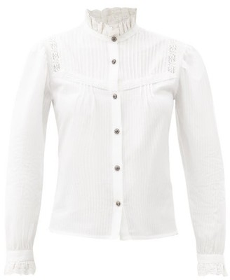 Etro Corsica Frill-neck Bib-front Cotton Shirt - White
