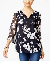 JM Collection Floral-Print Peasant Top, Only at Macy's