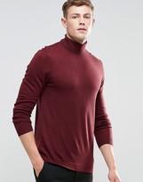 Asos Roll Neck Sweater in Merino Wool in Burgundy