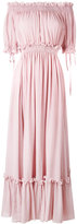 Alexander McQueen off the shoulder smocked gown - women - Silk/Cotton - 40