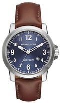 Michael Kors Paxton Stainless Steel and Leather Strap Watch