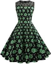 Là Vestmon Women's St. Patrick's Day Retro Sleeveless Lace Print Round Neck A Line Dress