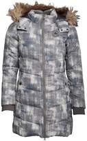 Converse Womens Tacy Core Print Long Down Parka Jacket Charcoal Grey Multi
