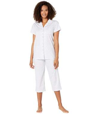 Eileen West Cotton Jersey Knit Notch Collar Capris Pajama Set
