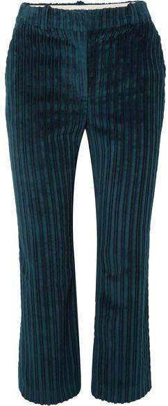 Altuzarra Adler Cropped Cotton-corduroy Flared Pants - Petrol