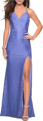 La Femme V-Neck Strappy Open-Back Stretch-Lace Gown with Slit