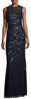 Jenny Packham Daisy-Embroidered Column Gown, Navy