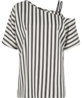 River Island Womens Black stripe print one cold shoulder top