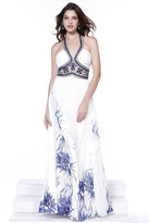 Nox Anabel - Sleeveless Bejeweled and Ruched Halter Neck Long Floral A-line Dress 8226