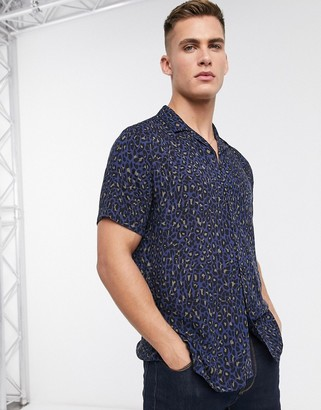 Topman short sleeve shirt with revere collar & leopard print in navy
