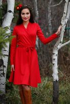 Shabby Apple Cranberry Red Wrap Dress