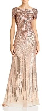 Aqua Sequin Boat Neck Gown - 100% Exclusive