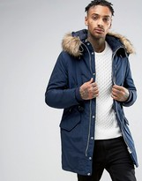 Pull&bear Parka With Faux Fur Hood In Navy