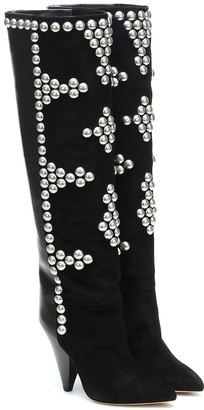 Isabel Marant Lyork suede and leather knee-high boots