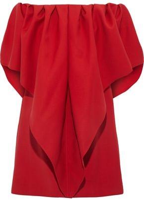 Valentino Off-the-shoulder Draped Grain De Poudre Wool Mini Dress