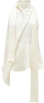 Petar Petrov Cian Draped Silk-blend Blouse - Womens - Ivory