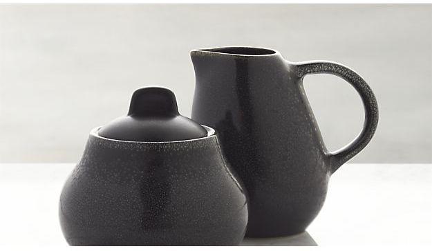 Crate & Barrel Jars Tourron Black Sugar Bowl with Lid and Creamer