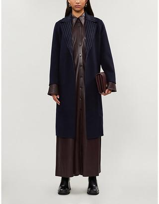 Claudie Pierlot Gine striped-collar reversible wool-blend coat