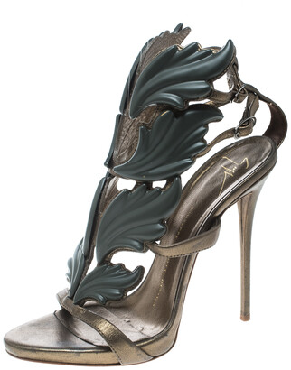 Giuseppe Zanotti Olive Green Leather Argent Metal Wing Embellished Strappy Sandals Size 37