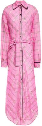 Victoria Victoria Beckham Checked Cotton And Silk-blend Gauze Maxi Shirt Dress