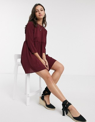 ASOS DESIGN long sleeve smock mini dress in winter wine