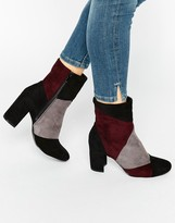 Glamorous Patchwork Heeled Ankle Boots