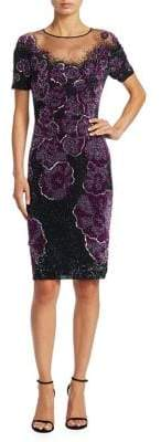 Pamella Roland Floral Beaded Dress