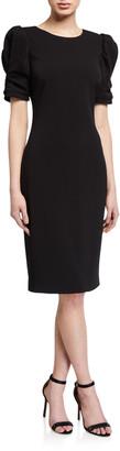 Badgley Mischka Ruched Short-Sleeve Crepe Sheath Dress