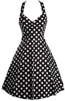 Ensnovo Womens Halterneck Rockabilly Vintage Style 50s Prom Dresses Swing Polka Dot Black,L